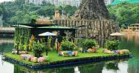Sunway Lagoon's Pinky gets an Upcycled Floating Island as her Home!